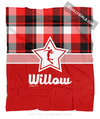 Personalized Red and Black Plaid Volleyball Fleece Throw Blanket