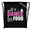 Golly Girls: Will Dance for Food Black Drawstring Backpack