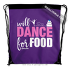 Golly Girls: Will Dance for Food Purple Drawstring Backpack
