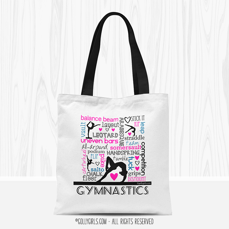 bf98d411bfec Word of Gymnastics Typography Tote Bag - Golly Girls