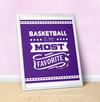 "Basketball is My Favorite Purple 16"" x 20"" Poster - Golly Girls"