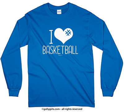 I Hashtag Heart Basketball Long Sleeve T-Shirt (Youth-Adult) - Golly Girls