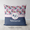 Golly Girls: Berry Pink and Blue Sweet Floral Personalized Every Girl Throw Pillow