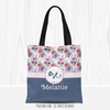 Golly Girls: Berry Pink and Blue Sweet Floral Personalized Every Girl Tote Bag