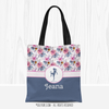 Golly Girls: Berry Pink and Blue Sweet Floral Personalized Soccer Tote Bag