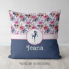 Golly Girls: Berry Pink and Blue Sweet Floral Personalized Soccer Throw Pillow