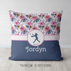 Golly Girls: Berry Pink and Blue Sweet Floral Personalized Softball Throw Pillow