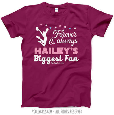 Golly Girls: Personalized Biggest Fan Cheer Berry T-Shirt (Youth-Adult)