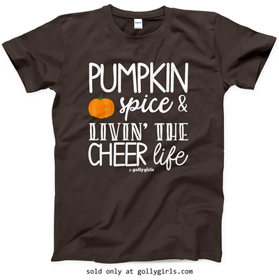 Golly Girls: Pumpkin Spice Cheer Dark Chocolate T-Shirt (Youth & Adult Sizes)