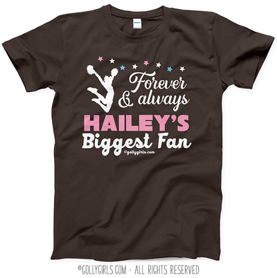 Golly Girls: Personalized Biggest Fan Cheer Dark Chocolate T-Shirt (Youth-Adult)