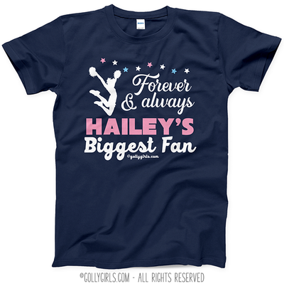 Golly Girls: Personalized Biggest Fan Cheer Navy T-Shirt (Youth-Adult)