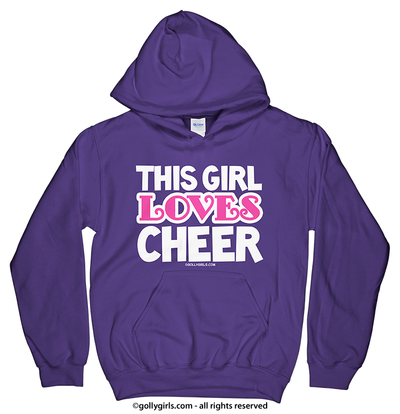 Golly Girls: This Girl Loves Cheer Purple Hoodie (Youth & Adult Sizes)