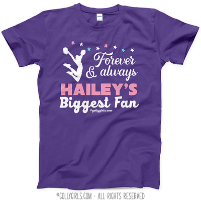 Golly Girls: Personalized Biggest Fan Cheer Purple T-Shirt (Youth-Adult)