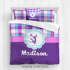 Golly Girls: Personalized Cheer Purple Plaid Queen Comforter Set + Pillow