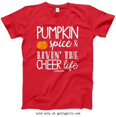 Golly Girls: Pumpkin Spice Cheer Red T-Shirt (Youth & Adult Sizes)