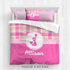 Sweet Peach Plaid Cheer Personalized Comforter Or Set