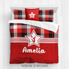 Red and Black Plaid Cheerleading Personalized Comforter Or Set