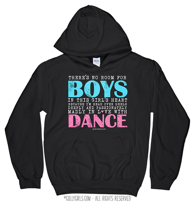 Golly Girls: No Room For Boys Dance Black Hoodie (Youth-Adult)
