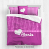 Golly Girls: Personalized Pink Dot Stripes Heart Queen Comforter Set+Pillow
