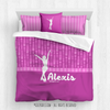 Golly Girls: Personalized Pink Dot Stripes Figure Skating Queen Comforter Set + Pillow