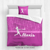 Golly Girls: Personalized Pink Dot Stripes Softball Comforter Or Set