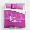 Golly Girls: Personalized Pink Dot Stripes Softball Queen Comforter Set + Pillow