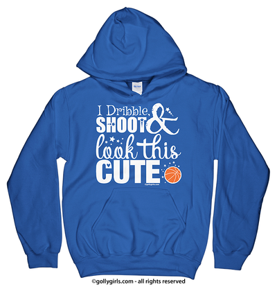 Golly Girls: Dribble Shoot Look Cute Basketball Royal Hoodie (Youth & Adult Sizes)