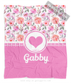 Golly Girls: Pink Summer Floral Personalized Every Girl Fleece Blanket