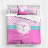 Golly Girls: Personalized Pink Fleur-De-Lis and Polka-Dots Figure Skating Queen Comforter Plus Sham Plus Pillow