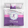 Golly Girls: Fun-Filled Hearts Personalized Lacrosse Comforter Or Set