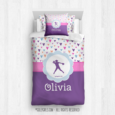 Golly Girls: Fun-Filled Hearts Personalized Softball Comforter Or Set