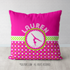 Personalized Pink & Green Polka-Dots Gymnastics Throw Pillow - Golly Girls
