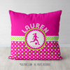 Personalized Pink & Green Polka-Dots Soccer Throw Pillow