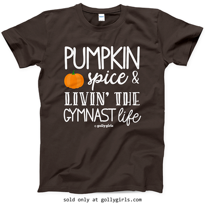 Golly Girls: Pumpkin Spice Gymnastics Dark Chocolate T-Shirt (Youth & Adult Sizes)
