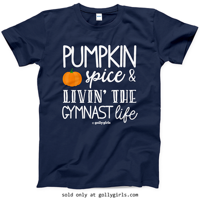 Golly Girls: Pumpkin Spice Gymnastics Navy T-Shirt (Youth & Adult Sizes)