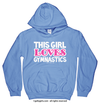 Golly Girls: This Girl Loves Gymnastics Carolina Blue Hoodie (Youth & Adult Sizes)