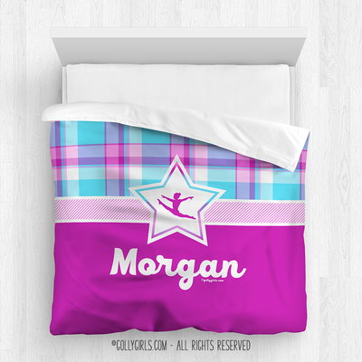 Golly Girls: Bubblegum Plaid Gymnastics Personalized Comforter Or Set