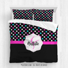 Golly Girls: Personalized Black and Pink Polka-Dots Gymnastics Comforter Or Set