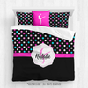 Golly Girls: Personalized Black and Pink Polka-Dots Gymnastics Queen Comforter Set + Pillow