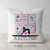Personalized Words of Gymnastics Typography Throw Pillow