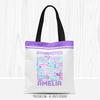 Golly Girls: Purple Typography Personalized Gymnastics Tote Bag