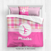 Sweet Peach Plaid Gymnastics Personalized Comforter Or Set