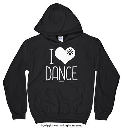 Golly Girls: I Hashtag Heart Dance Black Hoodie (Youth & Adult Sizes)