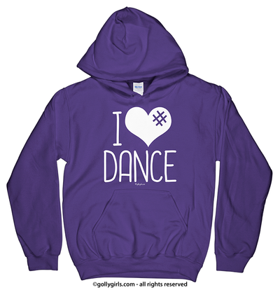 Golly Girls: I Hashtag Heart Dance Purple Hoodie (Youth & Adult Sizes)