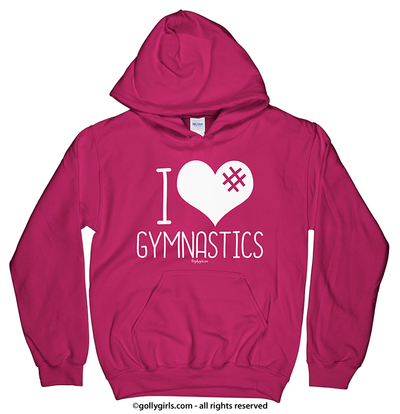 Golly Girls: I Hashtag Heart Gymnastics Heliconia Hoodie (Youth & Adult Sizes)