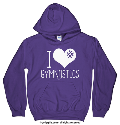 Golly Girls: I Hashtag Heart Gymnastics Purple Hoodie (Youth & Adult Sizes)