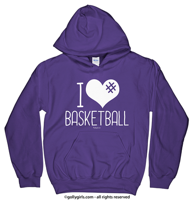Golly Girls: I Hashtag Heart Basketball Purple Hoodie (Youth & Adult Sizes)