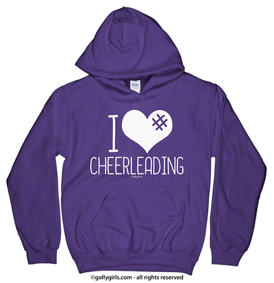 Golly Girls: I Hashtag Heart Cheerleading Purple Hoodie (Youth & Adult Sizes)