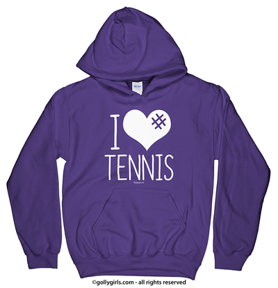 Golly Girls: I Hashtag Heart Tennis Purple Hoodie (Youth & Adult Sizes)