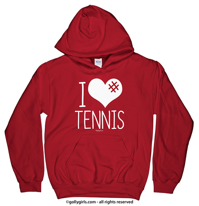 Golly Girls: I Hashtag Heart Tennis Red Hoodie (Youth & Adult Sizes)